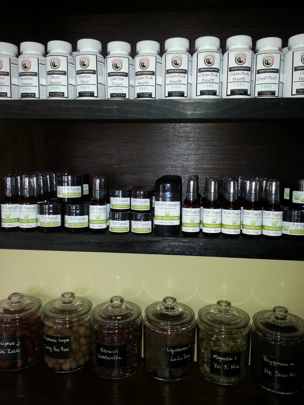Herbal topical remedies at acupuncture clinic